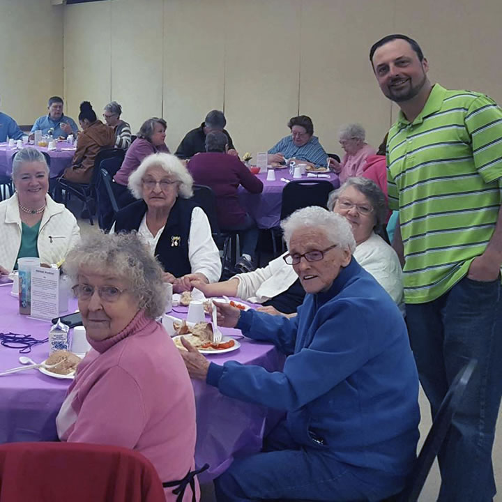 Seniors at the senior nutrition lunch
