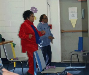 two seniors exercising