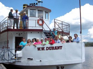 group of seniors on boat