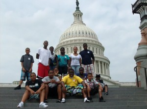 group of youth on steps with Capital dome in background